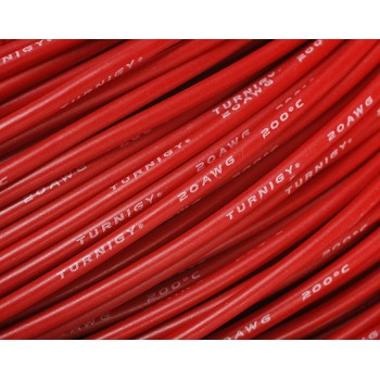 20AWG Turnigy Pure-Silicone Wire (1м.) - червен  (0,52мм2)